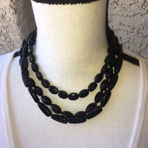 Black 3-Strand Lucite Necklace
